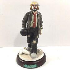 Porcelain Emmett Kelly Jr Bowler Figure, Flambro Exclusive, w Wooden Base