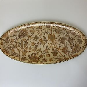 Vintage Serving Platter Oval 70s Floral Style Buffet Retro