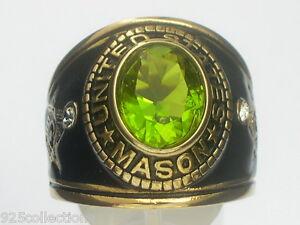 12X10 mm United States August Green Peridot Stone Mason Masonic Men Ring Size 12