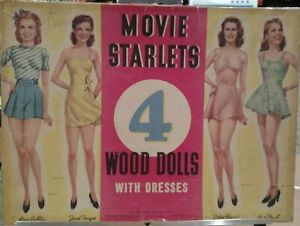 Whitman Publishing - Movie Starlets 4 Wood Dolls with Dresses No. 2964