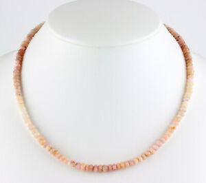 Andenopal Necklace Precious Stone Facetted Rondelle Pink Gradient 18 1/2in