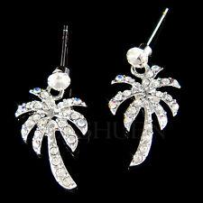 w Swarovski Crystal ~Palm Tree~ Coconut Hawaii Beach Wedding Stick Earrings Xmas