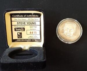 Highland Mint Steve Young NFL One Troy Ounce .999 Fine Silver Coin 4415/7500