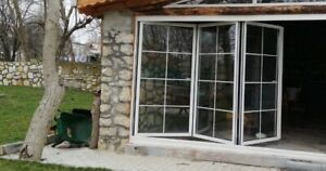 New, Quality Aluminium Bi fold Doors inc Glass 3 panels with Georgian Bars