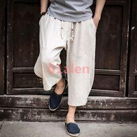 Summer Chinese Style Men Linen Blend Capri Loose Harem Pants Wide Leg Beach New