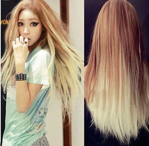 New Harajuku Women's Long Straight Hair Full Wig Cosplay Brown Ombre party wig