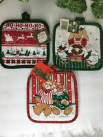 Vintage Christmas Potholders Set of 3 - Franco & More.  NEW