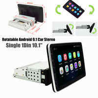 Single 1Din 10.1'' Rotatable Android 9.1 Car Stereo MP5 Player GPS WiFi 1G+16G