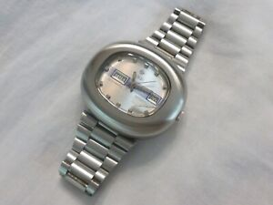 Working Large Vintage Zodiac SST 36000 Day Date Watch Stainless Original Band