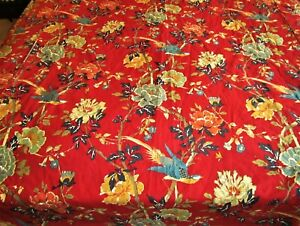 Pottery Barn Brighton Chinoserie Red Floral Bird Asian Full Queen Duvet Cover