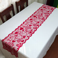 Vintage Red Lace Table Runner Dresser Scarf Doilies Wedding Valentines Day Decor