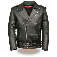 Mens Black Leather Police Style Motorcycle Jacket w Half Belt