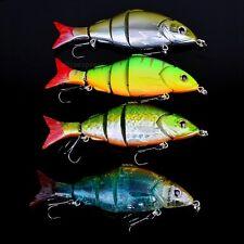 5.04″ Jointed Swim Bait Fishing Lures Hooks 4 Segments Bass Pike Muskie Killer