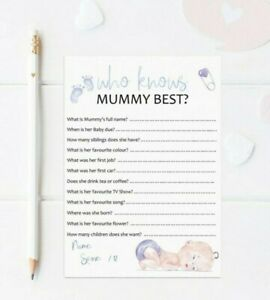 10 Who Knows Mummy Best Cards Baby Shower Games 14.8cm x 10.5cm 300gsm