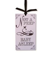 "DOOR HANGER Not A Peep Baby Asleep NEW PAULA PRASS Plastic 8"" x 4.5"" Ribbon Hang"