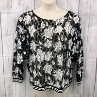 BAKU Womens Blouse Top Black White Floral Size XL 3/4 Sleeve Pullover Semi Sheer