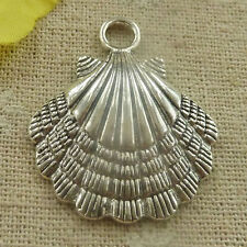 Free Ship 72 pieces tibetan silver shell charms pendant 36x30mm L-4745