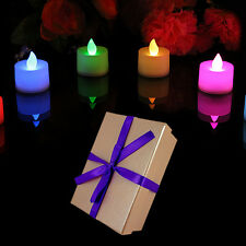 Set of 6 Colour Changing Flameless Tea Lights in Pink Gift Box by PK Green