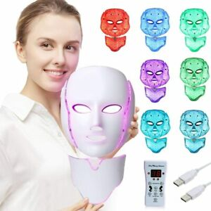 LED Face Mask Light Therapy - 7 Color Skin Rejuvenation Therapy LED Photon Mask
