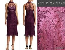 NWT DAVID MEISTER $595 Size 10 Embroidered Lace Halter neck Sheath Dress