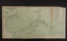 New York Long Island Map 1873 Glen Cove, Oyster Bay, Queens, Double Page N3#86
