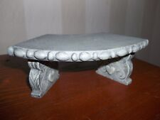 Mini Gray Decorative Bench Pedestal with Ornate Scrolled and Raised Heart Design