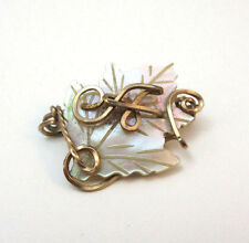 "VINTAGE MOTHER OF PEARL MONOGRAMMED ""A"" MAPLE LEAF PIN **"