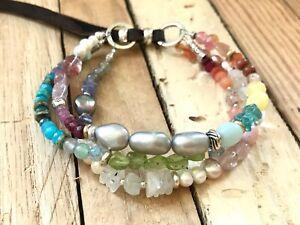 NEW inspired by Sundance Catalog, Spring Celebration Pearl & Peridot bracelet