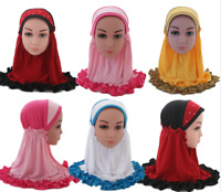 Arab Muslim Kids Hijab Cap Girls Shawl Wrap Islamic Headwear Scarf Children Hat