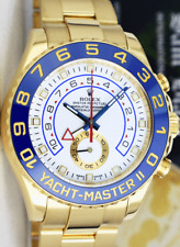 ROLEX - 44mm 18kt Gold YachtMaster II White Dial Blue Hands 116688 - SANT BLANC
