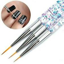 3X Acrylic Kolinsky Nail Art UV Gel Glitter Liner Pen Brush Set Paint Draw Tool