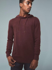 prAna Men's Throw-On Hooded Sweater in Maroon Size LARGE