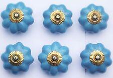 porcelaine céramique boutons tire-placard bleu clair fleur avec raccords laiton