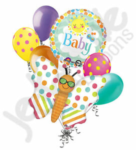 7 pc Fun in Sun Baby Shower Balloon Bouquet Decoration Welcome Home Butterfly