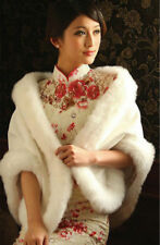 Ivory Red White Faux Fur Jacket Wrap Shrug Bolero Shawl Cape Bridal Wedding new