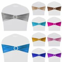 10/25/50/100 Stretch Spandex Shiny Chair Cover Sashes Buckle Bow Wedding Banquet
