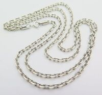 Pure S925 Sterling Silver Men Women Rectangle Link Chain Necklace/ 28inch/18g