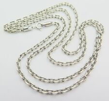 Pure S925 Sterling Silver Men Women 3mm W Rectangle Link Chain Necklace/25.6inch