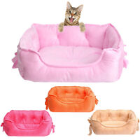 HK- Warm Bowknot Dog Sleeping Basket Nest Cat Puppy Soft Bed Sofa House Pet Supp