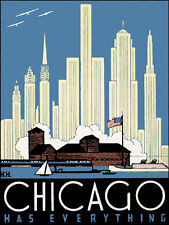 CHICAGO ILLINOIS HAS EVERYTHING BUILDINGS USA TRAVEL VINTAGE POSTER REPRO 12x16