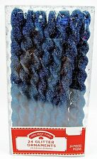 Holiday Time 24 Icicle Ornaments Plastic Icicles Gold Loops (Cobalt Blue)