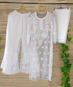 White Georgette Kurta Sharara Set Lucknow Chikankari Handmade Women Kurta Top