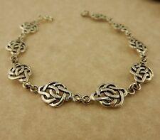 Sterling Silver Irish Celtic Knot link bracelet Irish Rose,