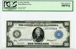 1914 Large Size $10 Federal Reserve Note | PCGS 58 PPQ Choice About New Fr. 951a