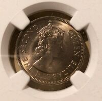 1963 H HONG KONG 50 CENTS NGC MS 66 - Copper-Nickel