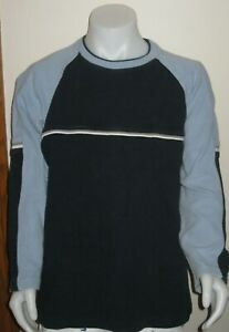 EUC boys MED L/S blue navy warm cozy cotton round neck sweater 24' L chest 36""
