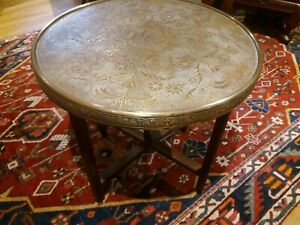Round Brass top Folding Eastern table
