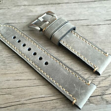 Leather strap in 24mm - Grey leather in 24/24mm compatible with your Panerai