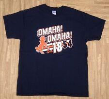 Omaha! Omaha! Broncos Shirt ~ Men's Large L ~ Navy Blue Denver Manning