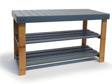 osoltus Bambus Schuhbank  Regal Sideboard Schuhablage 70cm grau